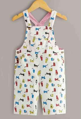 Todder Boys Cartoon And Striped Flap Pockets Overall image 1