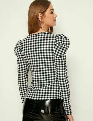 Gigot Sleeve Gingham Fitted Blouse image 2