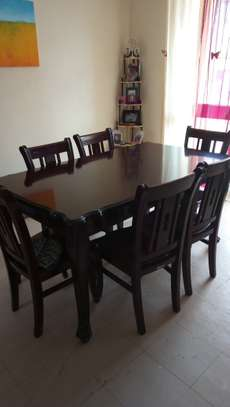 Table with 6 chairs and sofa L shape