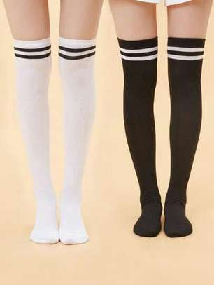 Shein 2 Pairs Striped Over The Knee Socks image 1