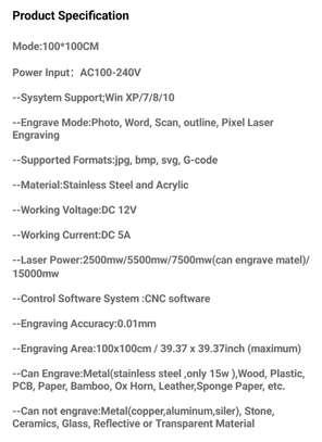 CRONOS 100*100cm 15W/30W/40W Laser Engraving/Cutting Machine image 4