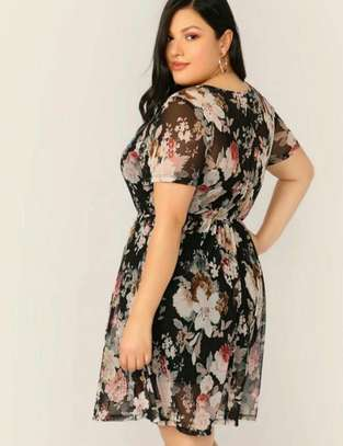 Plus Floral Print Sheer Dress Without Cami image 1