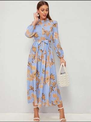 Floral Neck Belted Dress