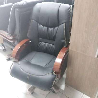 Black Leather Office Chair image 1