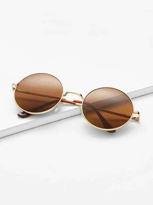 Gold Frame Brown Round Lens Sunglasses image 2