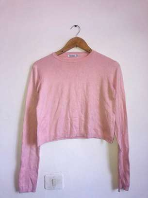 Baby pink Bershka cropped sweater
