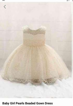 Baby Girl Pearls Beaded Gown Dress