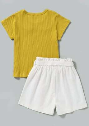 Yellow And White New Fashion Kids Dress With Shoes