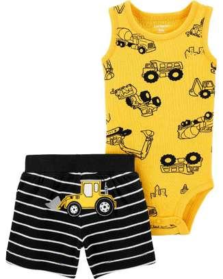 Carter's Boy 2 Set (Construction Bodysuit with Shorts) image 2