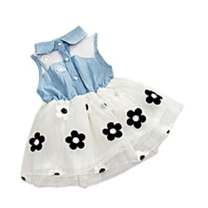 Baby Girls Summer Dress With Bowknot White image 1