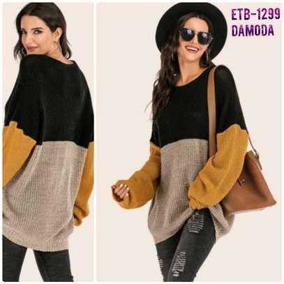 Color  Block Drop Shoulder Ribbed Knit Sweater