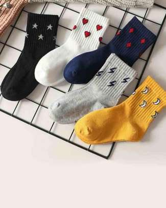 5pairs Toddler Kids Heart & Moon Pattern Socks