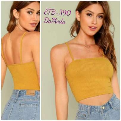 Ribbed Knit Cropped Cami Top