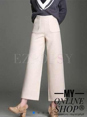 High waist woolen wide leg pants very classy