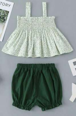 Green And White New Fashion Kids Dress With Short