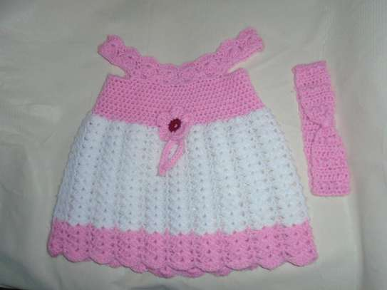 Pink Crochet Dress With Hairband