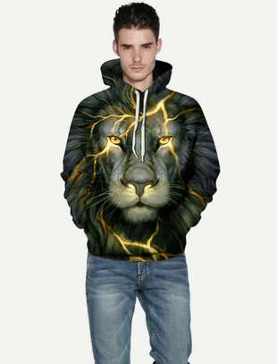 Guys 3D Lion Print Hooded