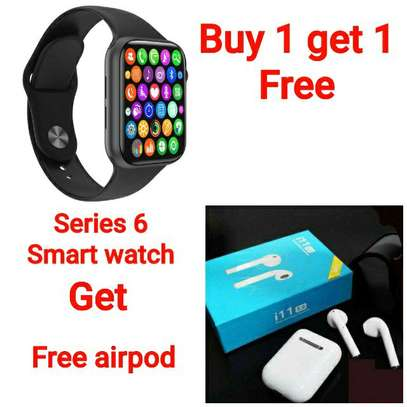 Buy one get one FREE                                        W26+(series 6) smart watch ➕ Free i11Airpod  price 1799 Free delivery contact contact as image 1