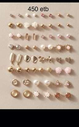 30 Pairs Flower & Rhinestone Earrings image 1