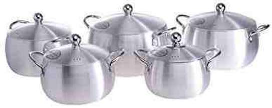 5pc Belly Shape Aluminium Cooking Pot