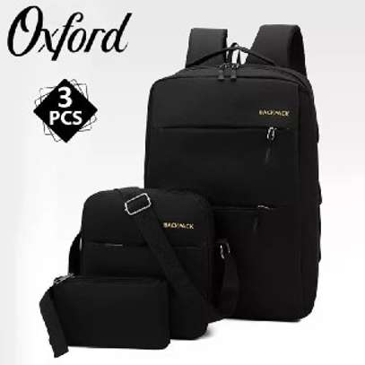 Backpack quality bag  3 pcs  price 1299 free delivery contact as image 1