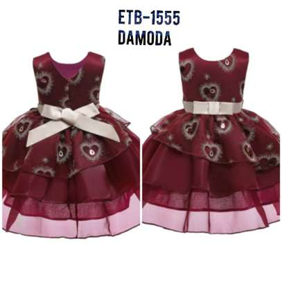Toddler Girls  Heart Embroidery Bow Layered Gown Dress