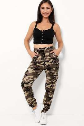 Highwaist Beige  Camouflage Print Cargo and White Twin Side Stripe Trousers image 3