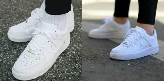 White Nike Air Force Shoes image 1