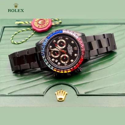 Rolex Daytona Rainbow crystals bezel full black