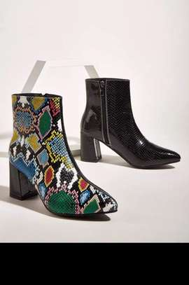 Snakeskins Chunky Heeled Ankle Boots
