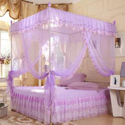 Full Set Bed Net and Frame Hanging Corner Post Romantic Mosquito Net Lace Princess Girl Canopy Bed Curtain Queen King image 4
