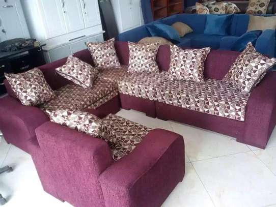 Burgundy L - Shape Sofa With Table