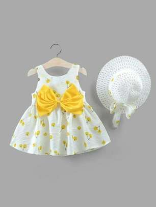Yellow And White New Fashion Kids Dress With Hat