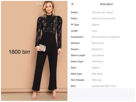 Black Stand Collar Full set clothes /jumpsuit