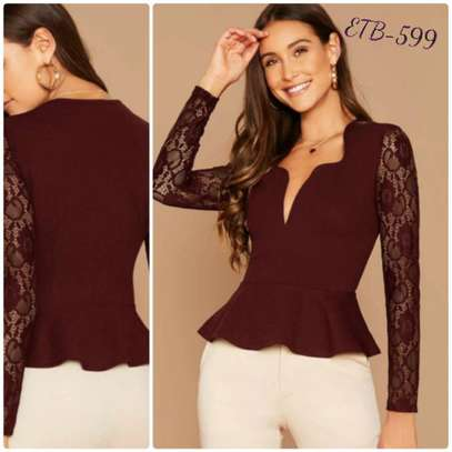 Notch Neck Lace Sleeve Peplum Top image 1