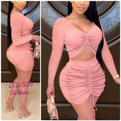 Pink Fashion Regular Sleeve V-Neck Wrapped Skirt Mini Solid  Dresses