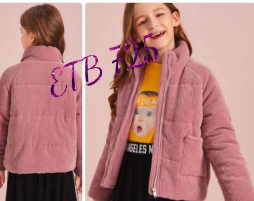 Girls Patch Pocket Corduroy Puffer Jacket