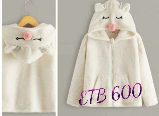 Girls 3D Ear Design pocket Front Teddy Hoodie