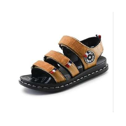 Leather Open Brown Boys' Sandals with rubber soles. image 1
