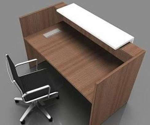 Wooden Reception Desk With Chair