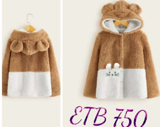 Girls Two Tone Embroidery Detail Teed Coat With Ears