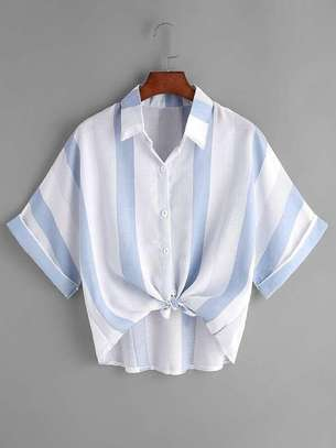 Rolled Sleeve Knot Front Striped Shirt