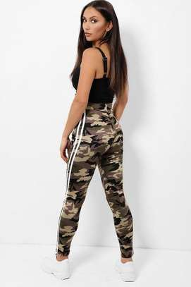 Highwaist Beige  Camouflage Print Cargo and White Twin Side Stripe Trousers image 2