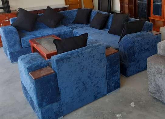 New blue fulset L-shape sofa+table image 2