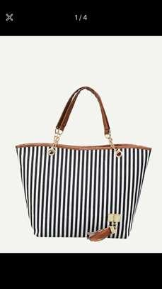 Vertical Striped Tote Bag