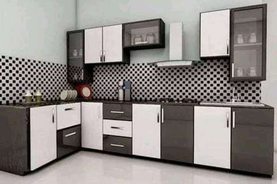 White With Grey Color Kitchen Cabinet