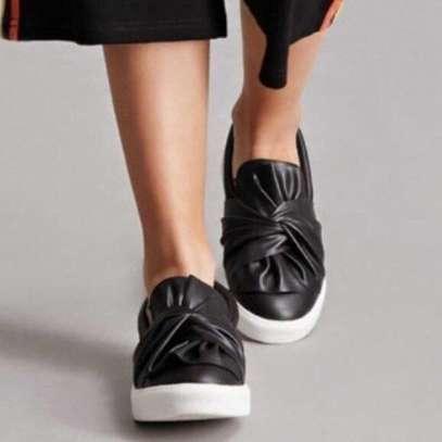 Mia Zoe Black Leather Wrap Slip Ons