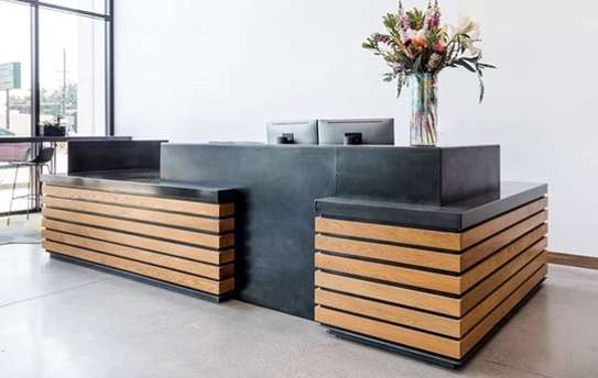 Wooden Designed Reception Desk image 1