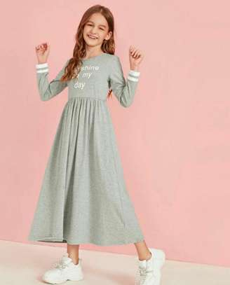 Hearthered Grey Slogan Graphic Flare Dress image 1