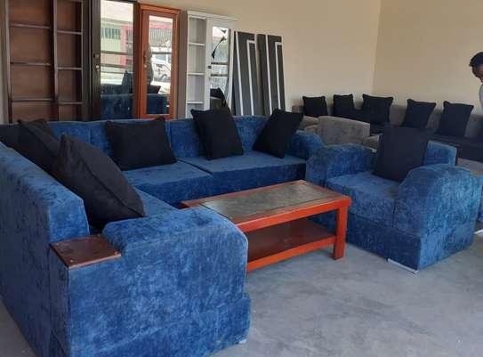 New blue fulset L-shape sofa+table image 1